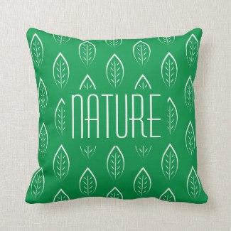 Coussin Nature avec feuilles verte verso