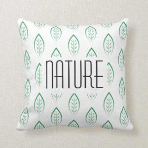 Coussin Nature avec feuilles vertes