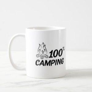 Tasse 100% camping avec feu de camps